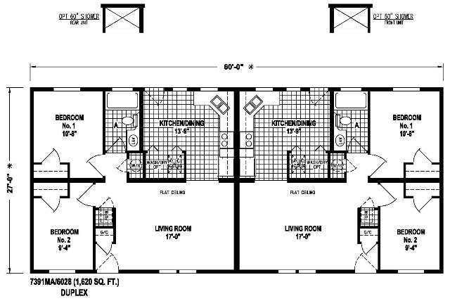 7391 ma duplex ma williams manufactured homes for Manufactured duplex floor plans